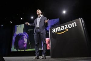 Amazon CEO Jeff Bezos discusses his company's new Fire smartphone in Seattle, Washington