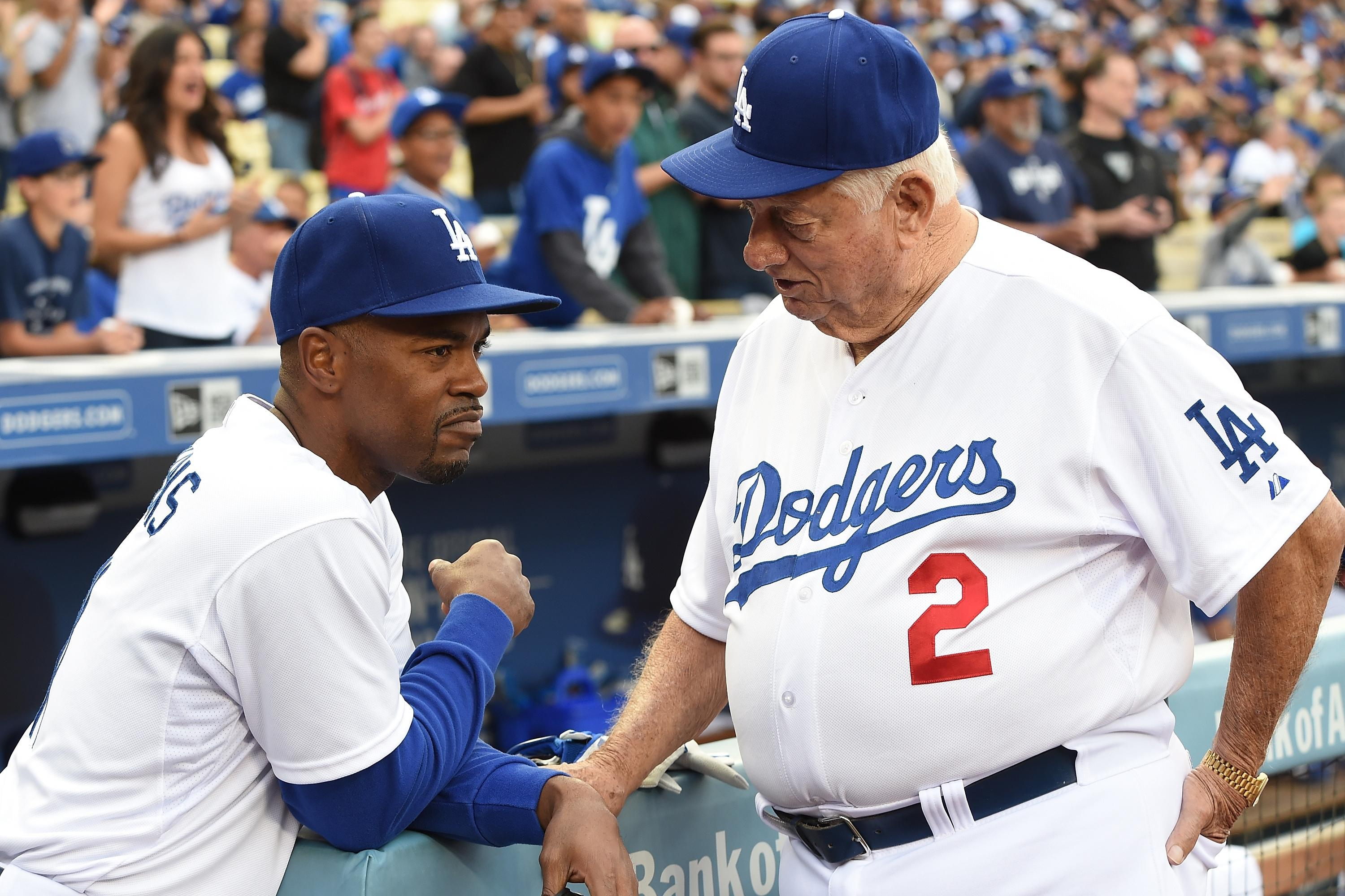 Jimmy Rollins wears Tommy Lasorda jersey while serving as acting manager