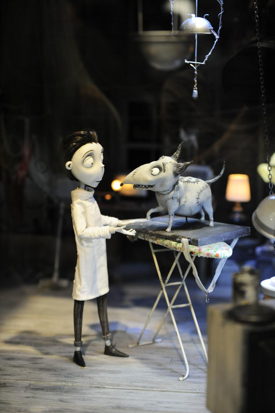 "Figures on the set of of the Disney Tim Burton movie "" Frankenweenie"" on display at Comic-Con preview night held at the San Diego Convention Center on Wednesday July 11, 2012, in San Diego.  (Photo by Denis Poroy/Invision/AP)"