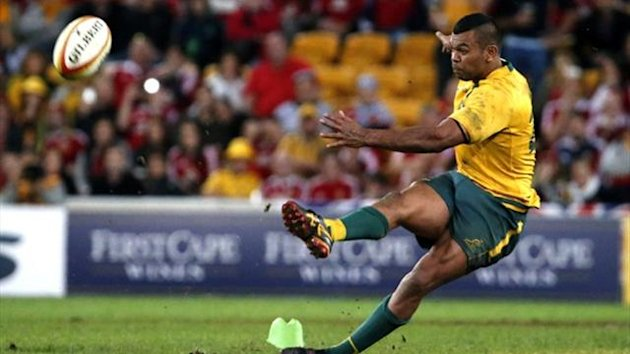 Australia's Kurtley Beale slips taking a crucial late kick against the Lions (Reuters)
