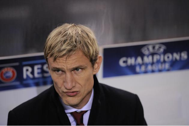 Leverkusen head coach Sami Hyypia, gestures during their Champions League Group A soccer match against Real Sociedad, at Anoeta stadium in San Sebastian, northern Spain on Tuesday, Dec. 10, 2013
