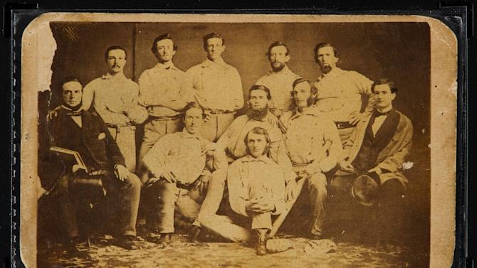 This June 30, 2015 photo provided by Heritage Auctions shows the front of a circa 1860 Brooklyn Atlantics baseball card. The pre-Civil War card will be sold at auction on July 30, at the National Sports Collectors Convention in Chicago. (Butch Ziaks/Heritage Auctions via AP)