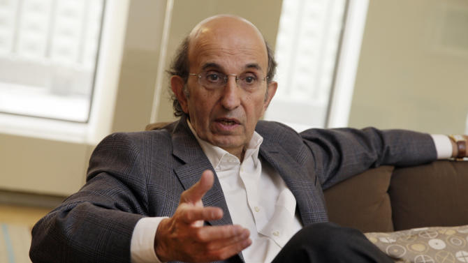 In this July 31, 2012 photo, Joel Klein, CEO of Amplify, speaks during an interview in his New York office. Klein, former New York City schools chief, left to run News Corp.'s education division but spent much of the past year defending boss Rupert Murdoch in the phone-hacking scandal that has rocked the British media. The investigation into the use of information taken from stolen phones is continuing, but Klein is back in New York to launch Amplify, News Corp.'s entry into the burgeoning field of digital learning. (AP Photo/Richard Drew)