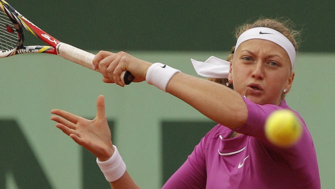 Czech Republic's Petra Kvitova returns the ball to USA's Varvara Lepchenko  during their fourth round match in the French Open tennis tournament at the Roland Garros stadium in Paris, Monday, June 4, 2012.  (AP Photo/Michel Spingler)