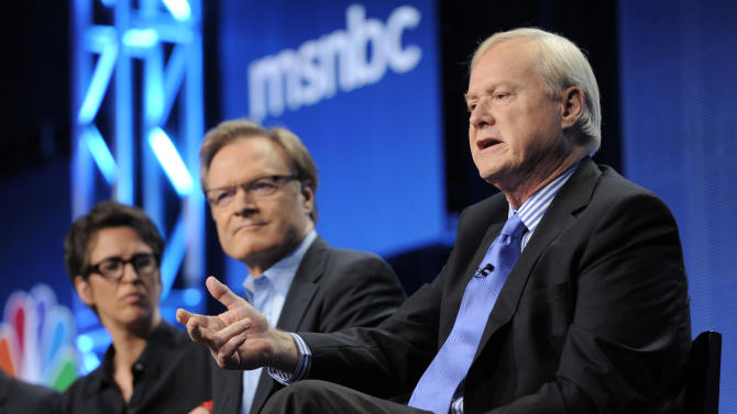 """Chris Matthews, right, host of """"Hardball"""" on MSNBC, answers a question as fellow MSNBC hosts Lawrence O'Donnell, center, and Rachel Maddow look on at the NBC Universal summer press tour, Tuesday, Aug. 2, 2011, in Beverly Hills, Calif. (AP Photo/Chris Pizzello)"""