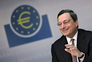 European Central Bank president Mario Draghi, pictured on July 5, pledged Thursday full support for Europe's single currency, boosting stock markets and easing pressure on Spanish borrowing costs