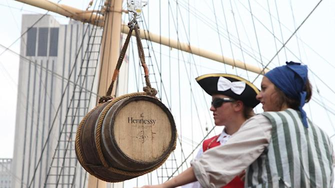 "IMAGE DISTRIBUTED FOR MOET HENNESSY - A special barrel of Hennessy, that made the trip from France with the Hermione is seen hanging aboard the Hermione at the ""Hennessy 250  Celebrates the Hermione's arrival in New York Harbor"" at Pier 15 on Wednesday, July 1, 2015, in New York. (Photo by Donald Traill/Invision for Moet Hennessy/AP Images"