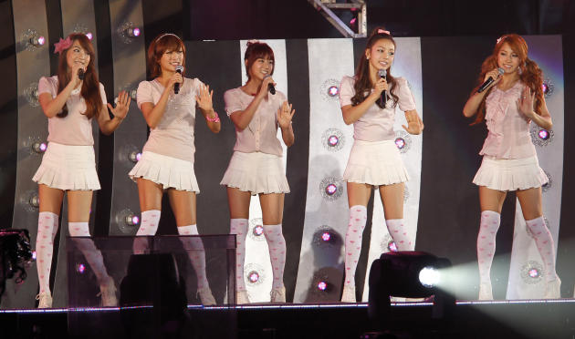 South Korean pop group Kara performs on the stage during the K-Pop All-Star live concert in Niigata, northern Japan, on Saturday, Aug. 20, 2011. (AP Photo/Koji Sasahara)
