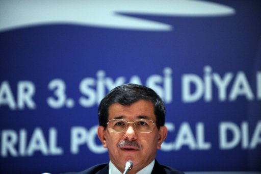 <p>Turkish Foreign Minister Ahmet Davutoglu gives a speech after the third Turkey-EU Ministerial Political Dialogue Meeting on June 7 in Istanbul. Davutoglu on Thursday praised the positive attitude adopted by the new French president toward relations with Ankara, saying that sanctions imposed on Paris would no longer be implemented.</p>