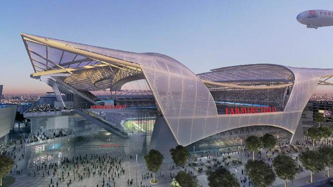 This architectural rendering file image provided by Anschutz Entertainment Group, AEG, shows an artist's rendering of the proposed NFL stadium, called Farmer's Field in Los Angeles. The design by the Los Angeles-based firm, Gensler shows the transparent roof. Entertainment firm AEG announced Monday, Sept. 29, 2014, they have requested a six-month extension of the company's agreements with the city of Los Angeles to build a professional football stadium near Staples Center so they can continue negotiations with the NFL to secure a team. AEG's agreements with the city are set to expire on Oct. 18