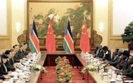 South Sudan President Salva Kiir (2nd R) speaks to Chinese President Hu Jintao (2nd L) during their meeting at the Great Hall of the People in Beijing. South Sudan's leader accused Sudan of declaring war on Tuesday as Khartoum's warplanes bombed border regions in defiance of international calls for restraint