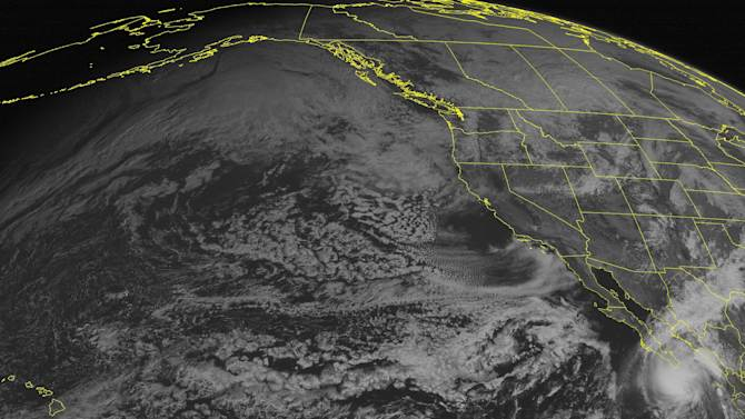 This NOAA satellite image taken Sunday, November 03, 2013 at 02:00 PM EDT shows Tropical Storm Sonia approaching the southern Baja Peninsula with maximum winds of 45mph. Low pressure system over the Northwest with areas of snow showers. Rain showers are seen over New Mexico. (AP PHOTO/WEATHER UNDERGROUND)