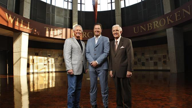 FILE - In this Aug. 7, 2007 file photo provided by the Country Music Hall of Fame, Mel Tillis, left, Vince Gill, center, and Ralph Emery are shown in the hall in Nashville, Tenn. On Wednesday, July 11, 2012, the Academy of Country Music announced that it is donating $2.5 million to help expand the Country Music Hall of Fame and Museum. (AP Photo/Country Music  Hall of Fame, John Russell, File)