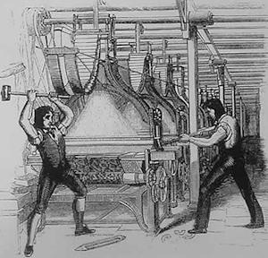 This publicly distributed illustration from 1812 shows frame-breakers, or Luddites, smashing a loom. The Luddites were British textile artisans who 200 years ago smashed the mechanized looms they thought threatened their jobs. Machine-breaking was criminalized by the Parliament of the United Kingdom as early as 1721, but the Frame-Breaking Act 1812 made the death penalty available.  (AP Photo)