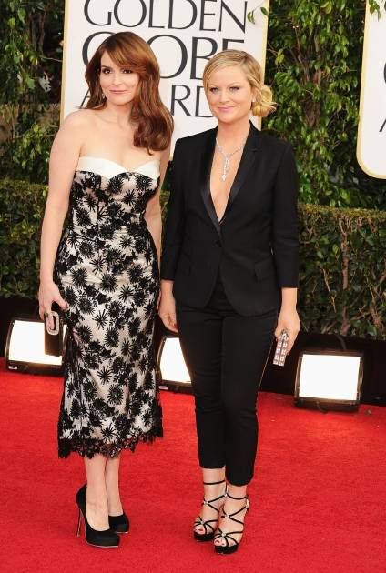 Hosts Tina Fey and Amy Poehler arrive at the 70th Annual Golden Globe Awards held at The Beverly Hilton Hotel on January 13, 2013 -- Getty Images