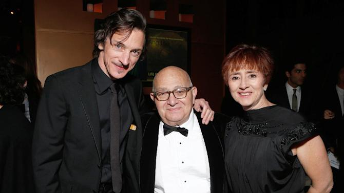 IMAGE DISTRIBUTED FOR FOX SEARCHLIGHT - From left, John Hawkes, director Ben Lewin and Judi Levine attend the Fox Golden Globes Party on Sunday, January 13, 2013, in Beverly Hills, Calif. (Photo by Todd Williamson/Invision for Fox Searchlight/AP Images)
