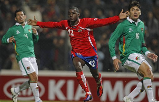 In this July 7, 2011 file photo Costa Rica's Joel Campbell celebrates after scoring against Bolivia during a Group A Copa America soccer match in San Salvador de Jujuy, Argentina