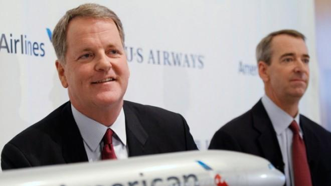US Airways CEO Doug Parker and American Airlines CEO Thomas Horton announce the company's merger on Feb. 14.