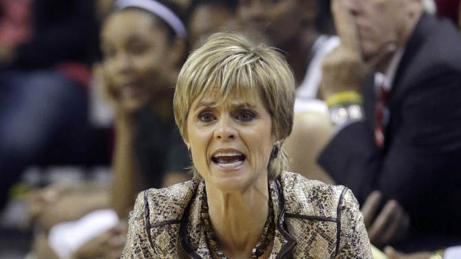 Baylor head coach Kim Mulkey yells from the sidelines during the first half of an NCAA college basketball game against Tennessee, Tuesday, Dec. 18, 2012, in Waco, Texas. (AP Photo/LM Otero)