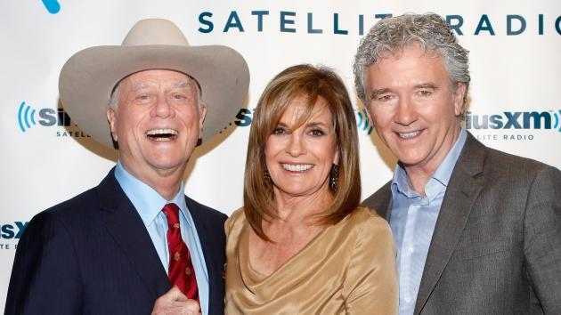 Larry Hagman, Linda Gray and Patrick Duffy visit the SiriusXM Studio, New York City, on June 11, 2012 -- Getty Premium