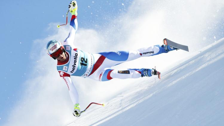 Defago of Switzerland skis during the men's downhill event during the FIS Alpine Skiing World Cup finals in the Swiss ski resort of Lenzerheide