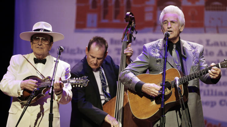 Del McCoury, right, and Bobby Osborne, left, perform at the International Bluegrass Music Association Awards show on Thursday, Sept. 27, 2012, in Nashville, Tenn. (AP Photo/Mark Humphrey)