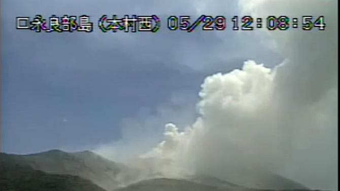 Video grab from the Japan Meteorological Agency shows the eruption of Mount Shindake on Kuchinoerabu island in Kagoshima Prefecture, southwestern Japan on May 29, 2015