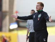 Celtic manager Neil Lennon gestures towards his players during the defeat at St Johnstone