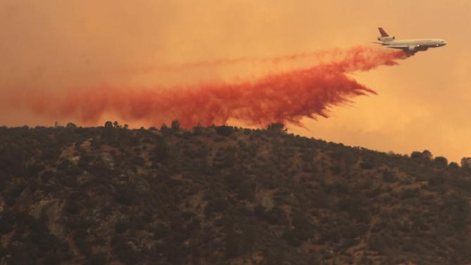a long drop of fire retardant on the Shirley Fire, Saturday