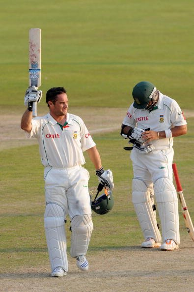 CENTURION, SOUTH AFRICA - NOVEMBER 27:  Mark Boucher of South Africa celebrates reaching 100 runs during a record partnership of 223 runs with Ashwell Prince during day two of the second test match be