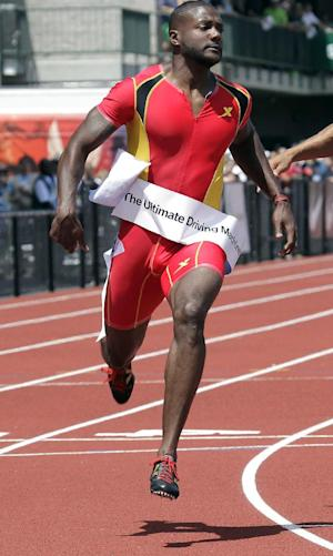 Justin Gatlin wins the 100-meter race during the Prefontaine Classic track and field meet in Eugene, Ore., Saturday, June 1, 2013. (AP Photo/Don Ryan)