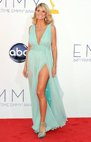 Heidi Klum Flashes Toned, Tanned Legs in Sexy Emmy Awards Dress