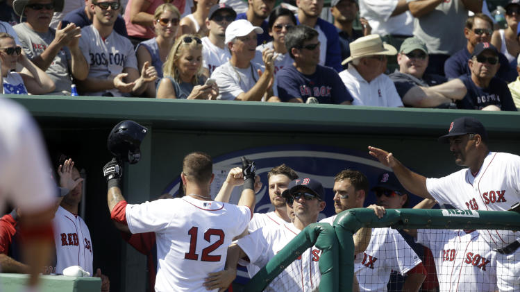 Boston Red Sox first baseman Mike Napoli (12) is congratulated at the dugout after his solo homer in the fifth inning of an exhibition baseball game against the Tampa Bay Rays in Fort Myers, Fla., Monday, March 10, 2014. (AP Photo/Gerald Herbert)