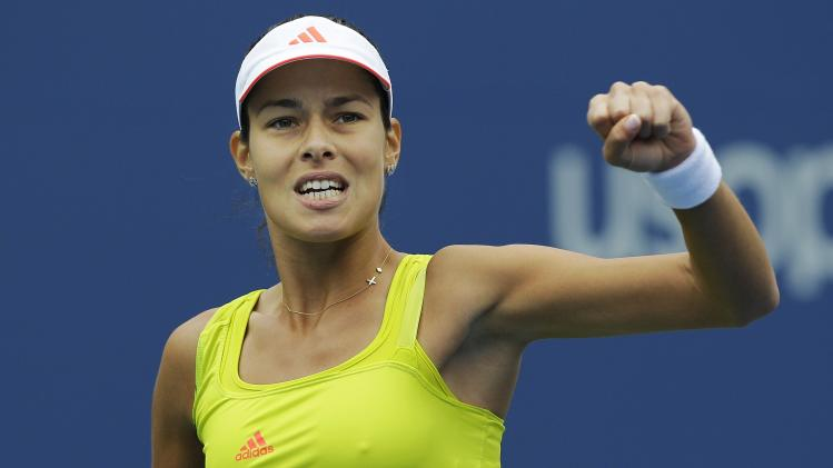 Serbia's Ana Ivanovic reacts during her match against Bulgaria's Tsvetana Pironkova in the fourth round of play at the 2012 US Open tennis tournament,  Monday, Sept. 3, 2012, in New York. (AP Photo/Kathy Willens)