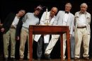Nobel Prize laureates and keynote speaker Kirshner demonstrate a study during 22nd First Annual Ig Nobel Prize Ceremony in Cambridge