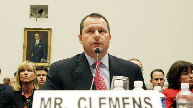 FILE - this Feb. 13, 2008, file photo shows former New York Yankees baseball pitcher Roger Clemens testifying before the House Oversight, and Government Reform Committee on Capitol Hill in Washington. The trial of former star pitcher Roger Clemens on charges that he lied to Congress when he denied taking steroids and human growth hormone is just the latest example of a big name from baseball becoming embroiled in scandal.  (AP Photo/Pablo Martinez Monsivais, File)