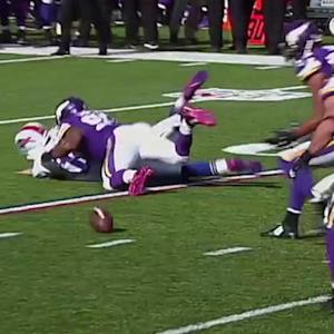 Buffalo Bills quarterback Kyle Orton sack-fumbles, recovered by Anthony Barr