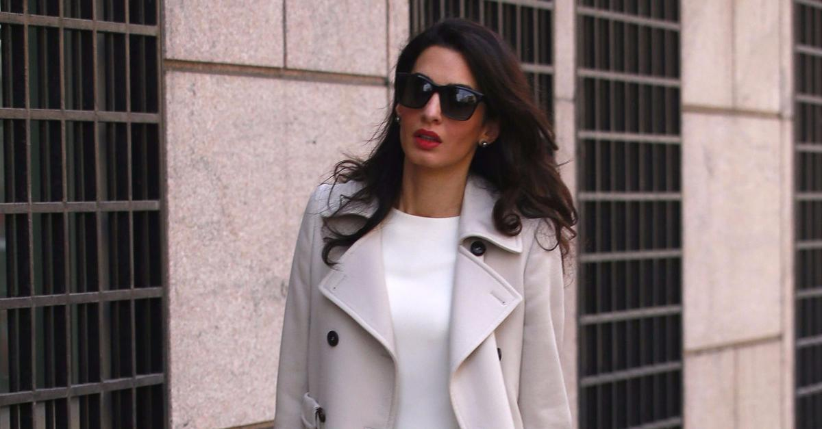 Amal Clooney Carries the Perfect Red Statement Bag