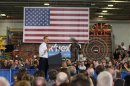 U.S. President Obama speaks at the Rodon Group, a manufacturer of toys in Hatfield