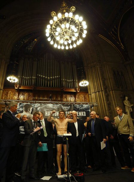 British boxer Ricky Hatton stands on the scales during a weigh-in, ahead of his comeback fight against Vyacheslav Senchenko of Ukraine in Manchester