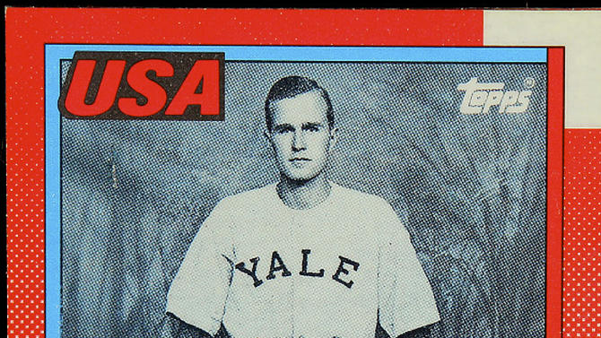 The photo released by Professional Sports Authenticator shows a baseball card produced by Topps trading card company in 1990 that depicts former President George H.W. Bush as a Yale first baseman. The card, containing a glossy reflective coating, was one of those given directly to President Bush at the White House on Feb. 5, 1990 by Topps CEO Arthur Shorin. Baseball cards depicting the former president have fetched thousands of dollars each since they were specially-made for the White House in 1990. But Joe Orlando, president of Professional Sports Authenticator in Santa Ana, Calif., said Tuesday, July 9, 2013, that many of the Bush cards in circulation were not part of the set presented to the president. (AP Photo/Professional Sports Authenticator)