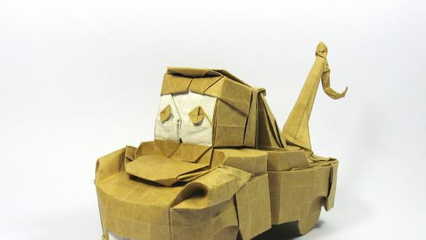 Origami art - Tow Mater. A character from Cars. I planed to design this for OUSA challenge but I was too slow and lazy...