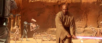 Samuel L. Jackson as Mace Windu closing in on Jango Fett in 20th Century Fox's Star Wars: Episode II