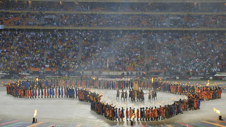 A performance ahead of the 2013 African Cup of Nations final football match between on February 10, 2013 in Johannesburg