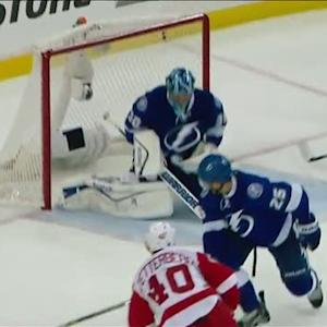 Bishop gets across the crease to deny Zetterberg