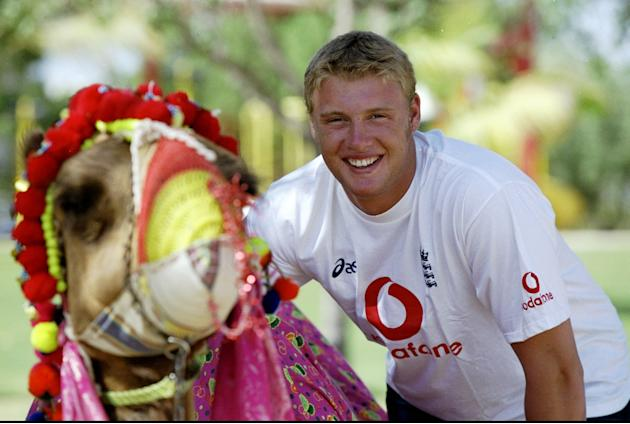 10 Apr 1999:  Andrew Flintoff of England prepares to ride a camel on a day off during the Coca-Cola Cup at the Sharjah CA Stadium in the United Arab Emirates. \ Mandatory Credit: Laurence Griffiths /A