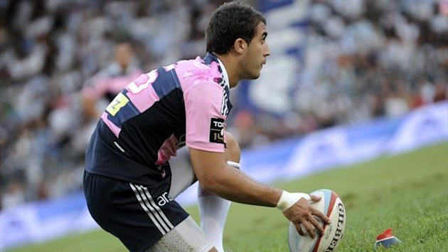 Stade Francais fullback Jerome Porical prepares to kick a penalty during a French Top 14 rugby union match (AFP)