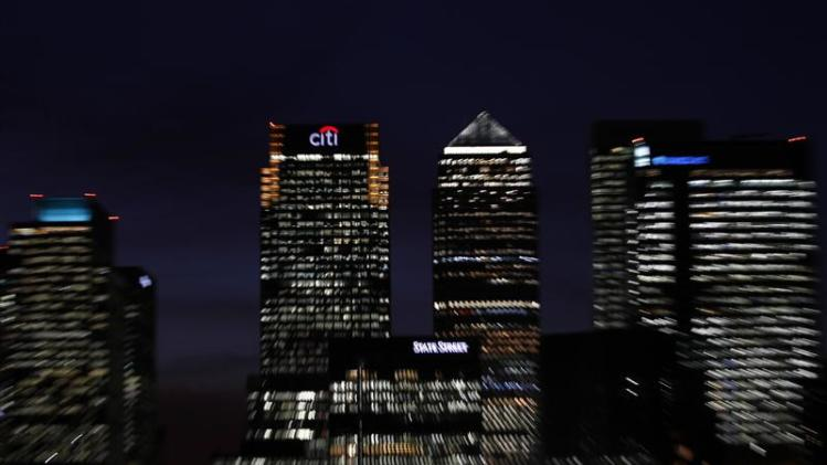 A general view shows the Canary Wharf financial district in east London