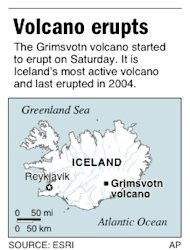 Map locates Grimsvotn volcano in Iceland that has started erupting