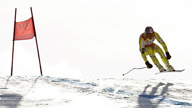Aksel Lund Svindal of Norway skis during training for the FIS Alpine World Cup Men&#39;s downhill race (AFP)